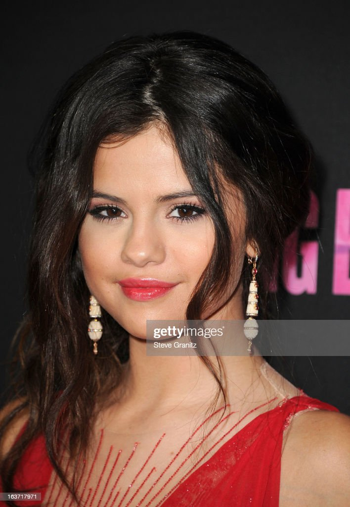 <a gi-track='captionPersonalityLinkClicked' href=/galleries/search?phrase=Selena+Gomez&family=editorial&specificpeople=4295969 ng-click='$event.stopPropagation()'>Selena Gomez</a> arrives at the 'Spring Breakers' Los Angeles Premiere at ArcLight Hollywood on March 14, 2013 in Hollywood, California.