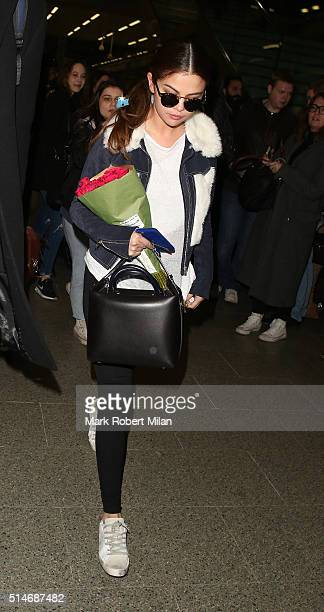 Selena Gomez arriving at Kings Cross Eurostar terminal on March 10 2016 in London England