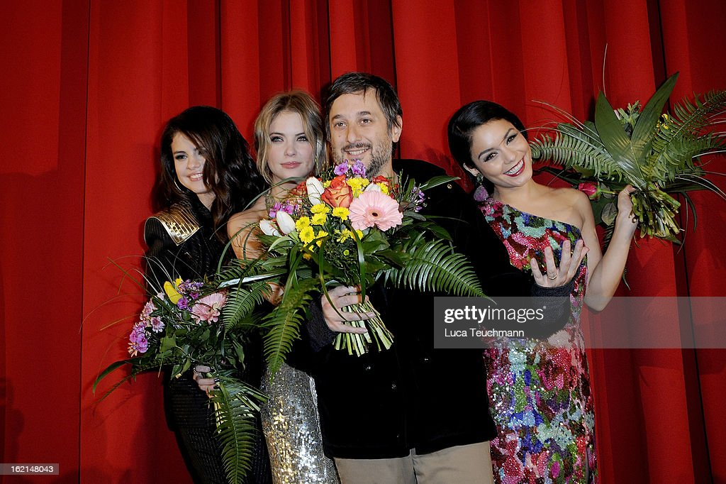 Selena Gomez, Ashley Benson, Harmony Korin and Vanessa Hudgens attend the premiere of 'Spring Breakers' at Sony Center on February 19, 2013 in Berlin, Germany.