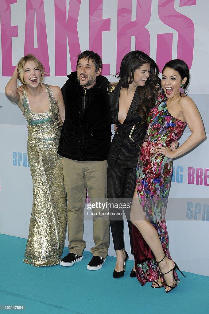 Selena Gomez, Ashley Benson, Harmony Korine and Vanessa Hudgens attend the premiere of 'Spring Breakers' at Sony Center on February 19, 2013 in Berlin, Germany.