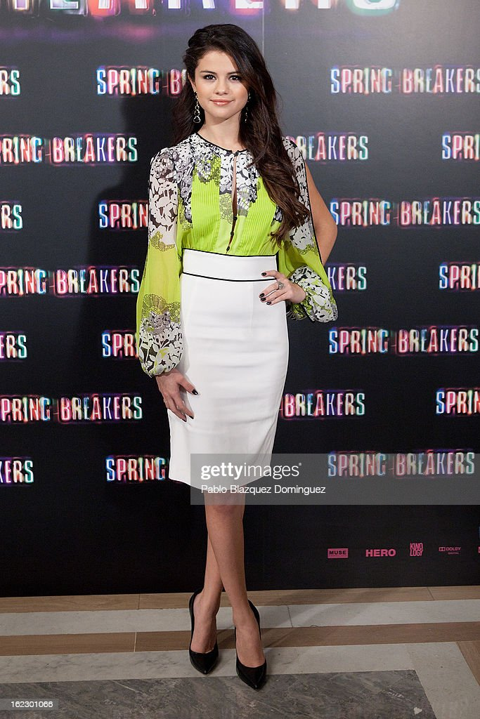 <a gi-track='captionPersonalityLinkClicked' href=/galleries/search?phrase=Selena+Gomez&family=editorial&specificpeople=4295969 ng-click='$event.stopPropagation()'>Selena Gomez</a> attends 'Springbreakers' Photocall at Villamagna Hotel on February 21, 2013 in Madrid, Spain.