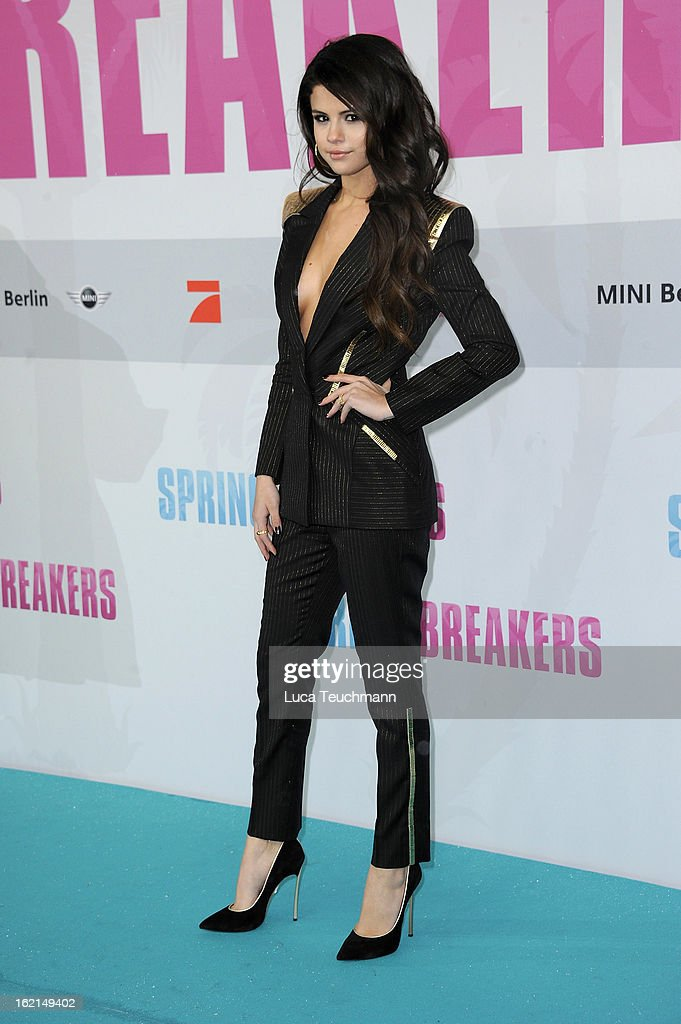 <a gi-track='captionPersonalityLinkClicked' href=/galleries/search?phrase=Selena+Gomez&family=editorial&specificpeople=4295969 ng-click='$event.stopPropagation()'>Selena Gomez</a> attends the premiere of 'Spring Breakers' at Sony Center on February 19, 2013 in Berlin, Germany.