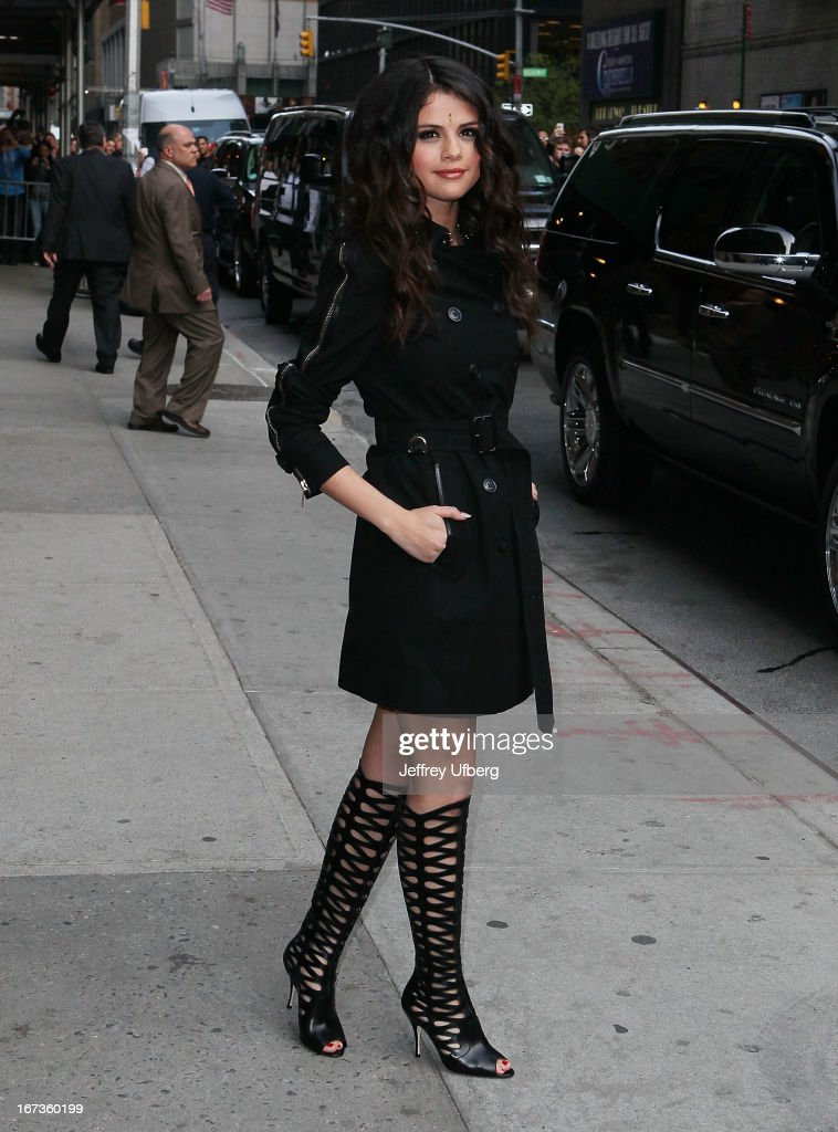 <a gi-track='captionPersonalityLinkClicked' href=/galleries/search?phrase=Selena+Gomez&family=editorial&specificpeople=4295969 ng-click='$event.stopPropagation()'>Selena Gomez</a> departs 'Late Show with David Letterman' at Ed Sullivan Theater on April 24, 2013 in New York City.