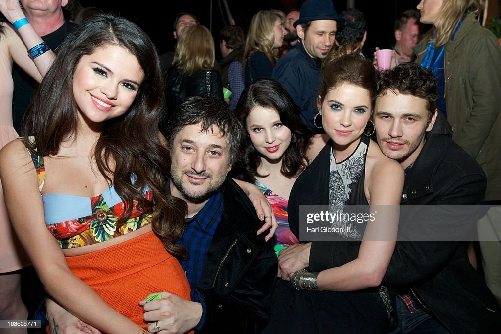 Selena Gomez, Harmony Korine, Vanessa Hudgens, Ashley Benson and James Franco attend 'The Branding Bee Presents The World Premiere After-Party Of 'Spring Breakers' Live From The Hive at The Ranch on March 10, 2013 in Austin, Texas.