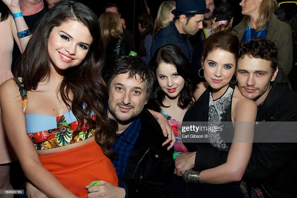 <a gi-track='captionPersonalityLinkClicked' href=/galleries/search?phrase=Selena+Gomez&family=editorial&specificpeople=4295969 ng-click='$event.stopPropagation()'>Selena Gomez</a>, <a gi-track='captionPersonalityLinkClicked' href=/galleries/search?phrase=Harmony+Korine&family=editorial&specificpeople=2613576 ng-click='$event.stopPropagation()'>Harmony Korine</a>, Vanessa Hudgens, <a gi-track='captionPersonalityLinkClicked' href=/galleries/search?phrase=Ashley+Benson&family=editorial&specificpeople=594114 ng-click='$event.stopPropagation()'>Ashley Benson</a> and <a gi-track='captionPersonalityLinkClicked' href=/galleries/search?phrase=James+Franco&family=editorial&specificpeople=577480 ng-click='$event.stopPropagation()'>James Franco</a> attend 'The Branding Bee Presents The World Premiere After-Party Of 'Spring Breakers' Live From The Hive at The Ranch on March 10, 2013 in Austin, Texas.