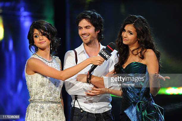 Selena Gomez Ian Somerhalder and Nina Dobrev on stage at the 22nd Annual MuchMusic Video Awards at the MuchMusic HQ on June 19 2011 in Toronto Canada
