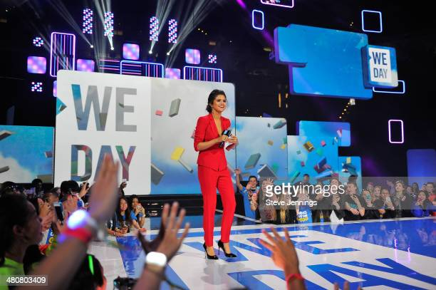 Selena Gomez in Oakland CA speaks about youth empowerment to 16000 students and educators at the first We Day California at ORACLE Arena on March 26...
