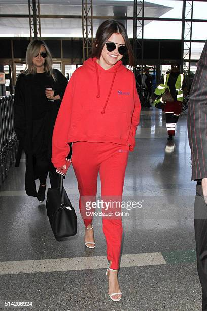 Selena Gomez is seen at LAX on March 07 2016 in Los Angeles California