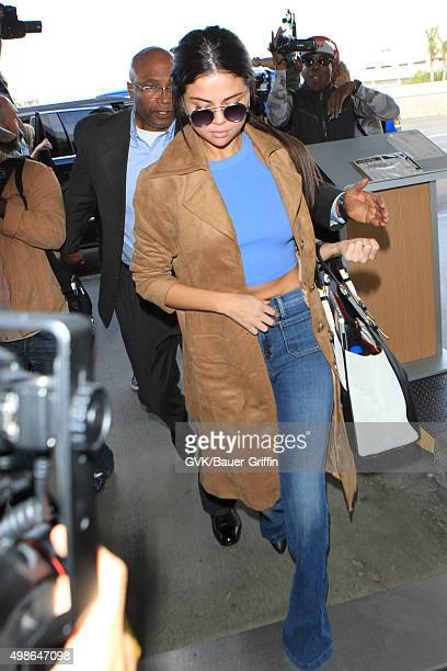 Selena Gomez is seen at LAX on November 24 2015 in Los Angeles California