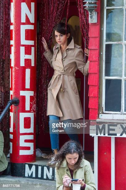 Selena Gomez is seen filming a Woody Allen film in the West Village on September 11 2017 in New York City