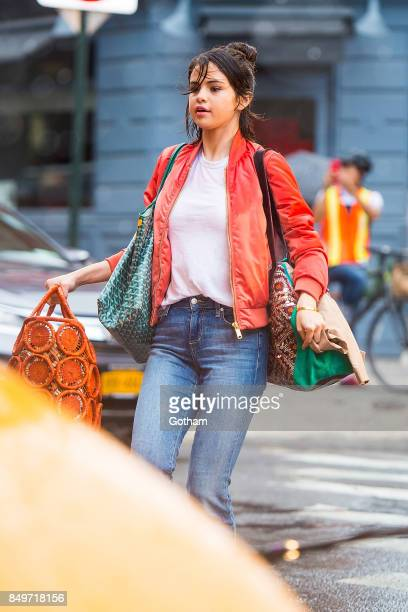 Selena Gomez is seen filming a Woody Allen film in the West Village on September 19 2017 in New York City