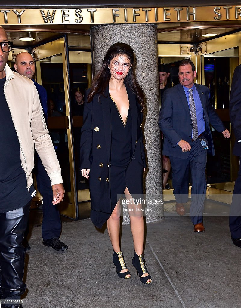 Selena Gomez leaves NBC's 'The Tonight Show Starring Jimmy Fallon' on October 14, 2015 in New York City.