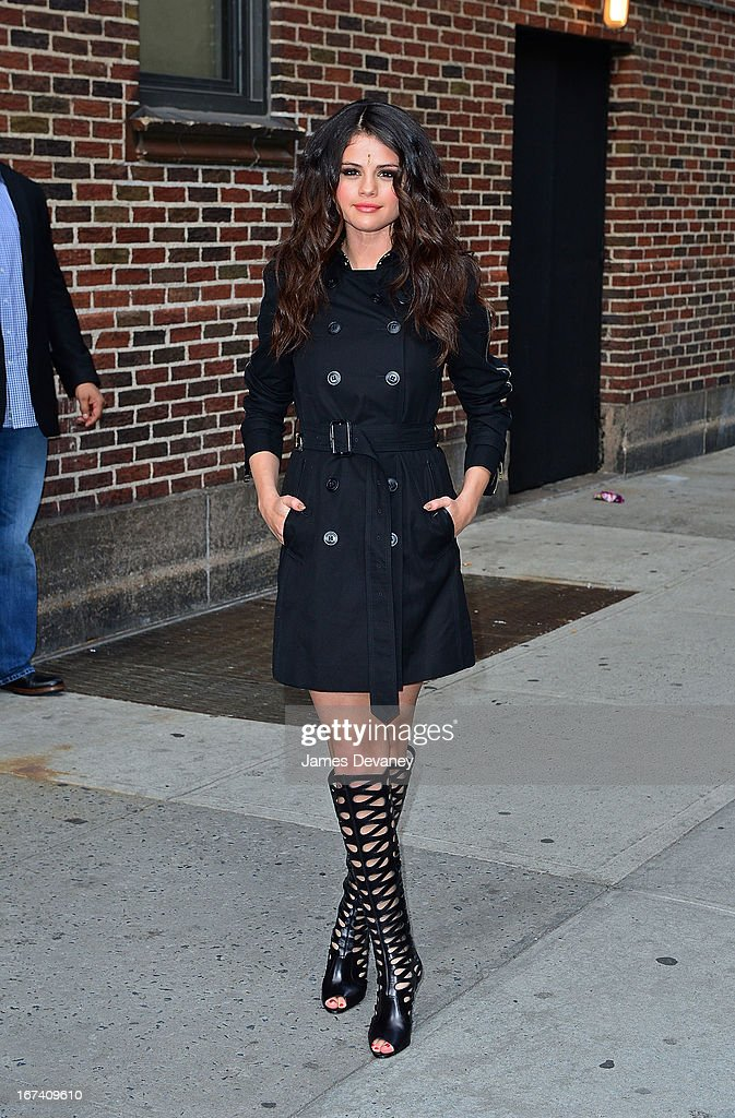 Selena Gomez leaves the 'Late Show With David Letterman' at Ed Sullivan Theater on April 24, 2013 in New York City.