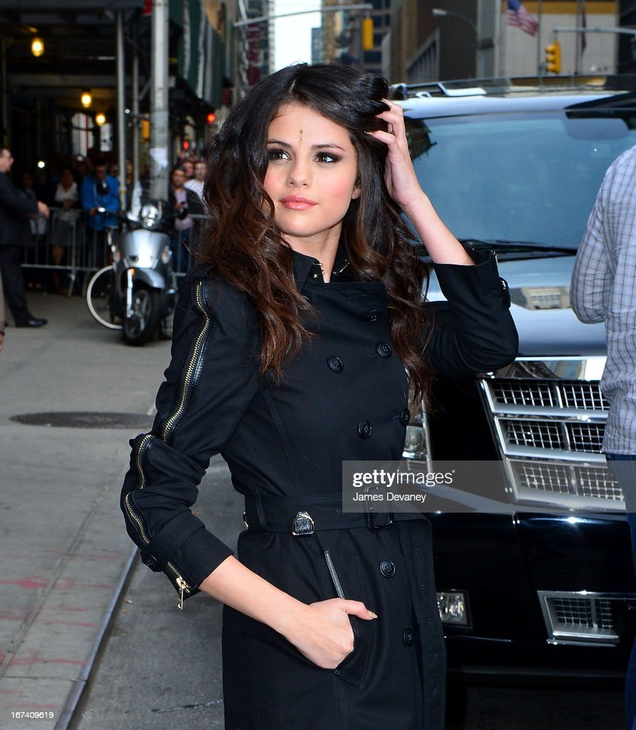 <a gi-track='captionPersonalityLinkClicked' href=/galleries/search?phrase=Selena+Gomez&family=editorial&specificpeople=4295969 ng-click='$event.stopPropagation()'>Selena Gomez</a> leaves the 'Late Show With David Letterman' at Ed Sullivan Theater on April 24, 2013 in New York City.