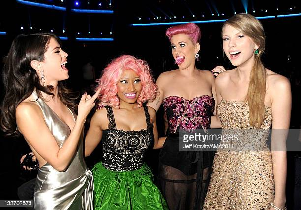 Selena Gomez Nicki Minaj Katy Perry and Taylor Swift in the audience at the 2011 American Music Awards at the Nokia Theatre LA LIVE on November 20...