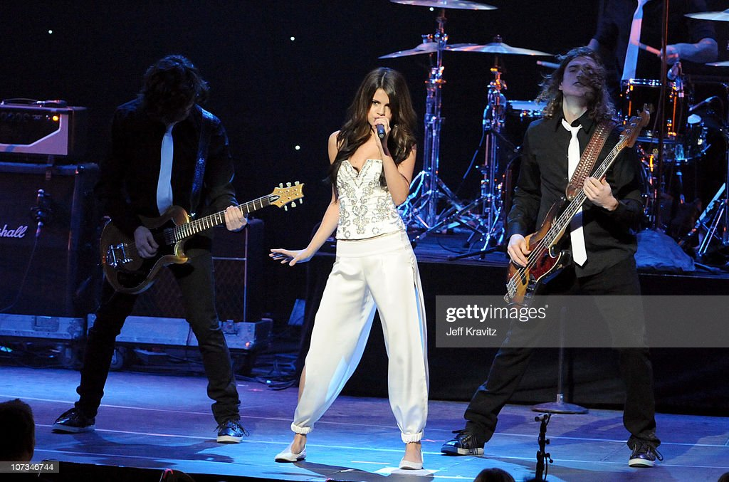 Selena Gomez performs at 1027 KIIS FM's Jingle Ball 2010 at Nokia Theatre LA Live on December 5 2010 in Los Angeles California
