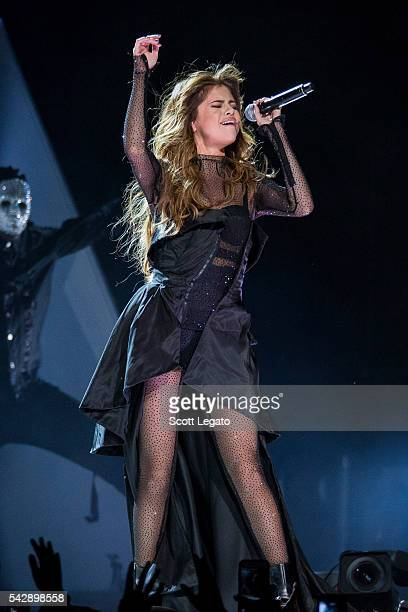 Selena Gomez performs during the Revival tour at The Palace of Auburn Hills on June 25 2016 in Auburn Hills Michigan