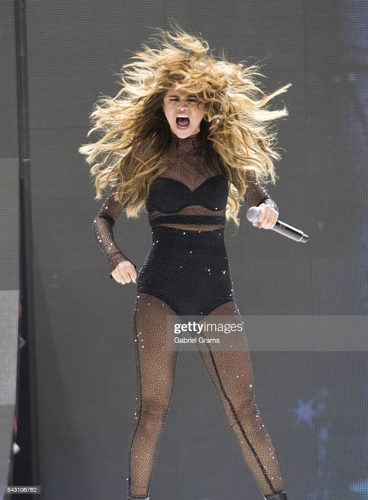 Selena Gomez performs during the Revival tour at United Center on June 25, 2016 in Chicago, Illinois.