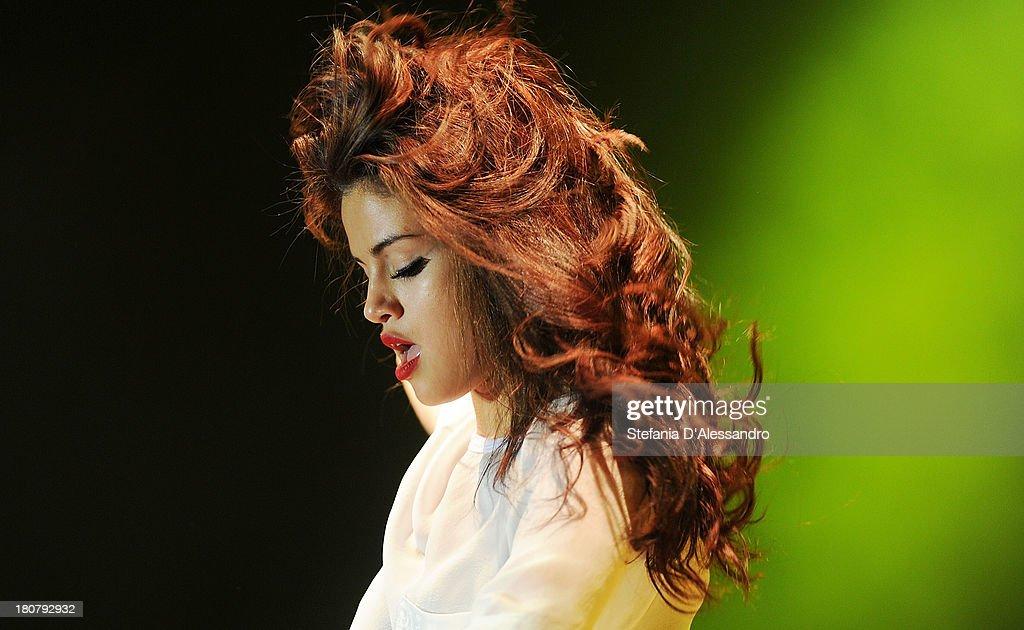 Selena Gomez performs on stage at Alcatraz on September 16, 2013 in Milan, Italy.