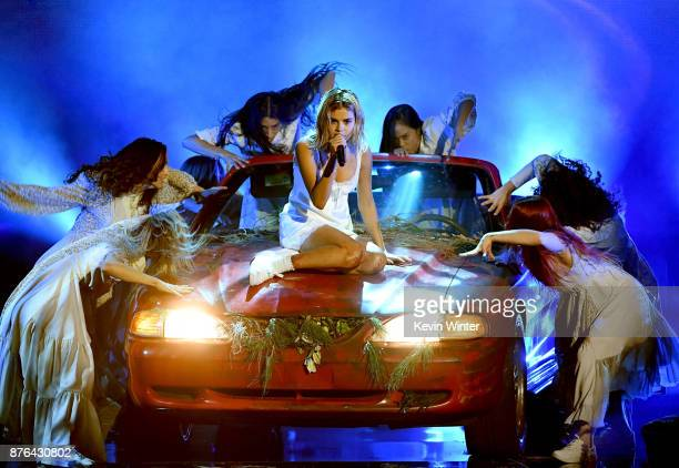 Selena Gomez performs onstage during the 2017 American Music Awards at Microsoft Theater on November 19 2017 in Los Angeles California