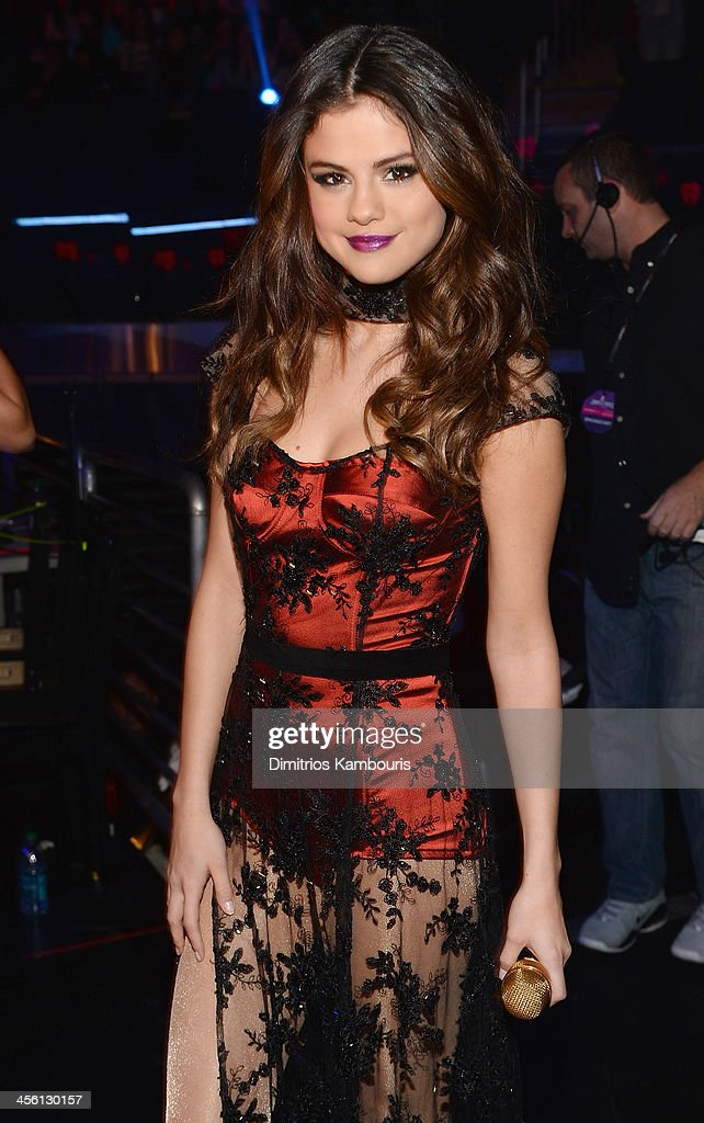 Selena Gomez poses backstage at Z100's Jingle Ball 2013 presented by Aeropostale at Madison Square Garden on December 13 2013 in New York City