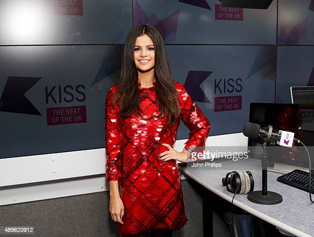 Selena Gomez poses during her visits Kiss FM Studio's on September 23 2015 in London England