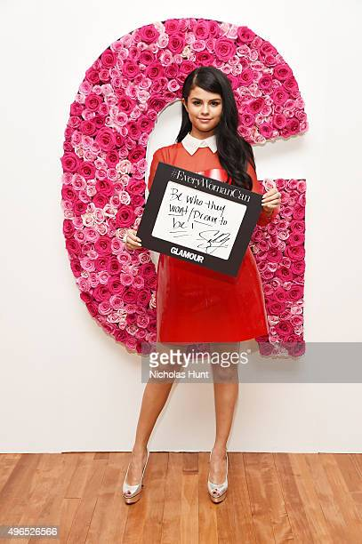 Selena Gomez poses for a photo at the backstage inspiration wall at the 2015 Glamour Women of the Year Awards at Carnegie Hall on November 9 2015 in...
