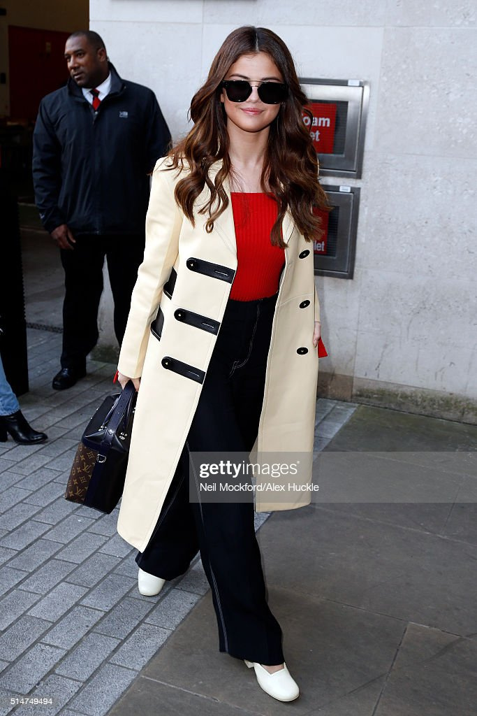 Selena Gomez seen arriving at the BBC Radio 1 Studios on March 11 2016 in London England