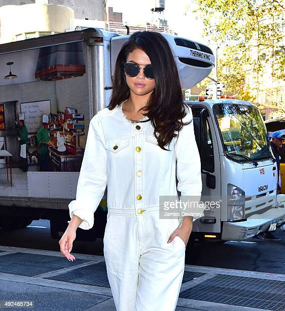 Selena Gomez seen arriving for a radio interview on 'Elvis Duran And The Z100 Morning Show' on October 13 2015 in New York City