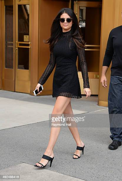 Selena Gomez seen departing a radio interview for 'Elvis Duran And The Z100 Morning Show' on October 13 2015 in New York City