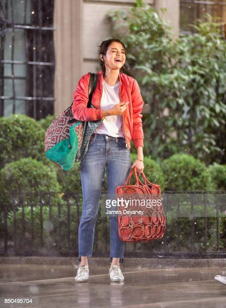 Selena Gomez seen on location for Woody Allen's untitled movie on the Upper East Side on September 20 2017 in New York City