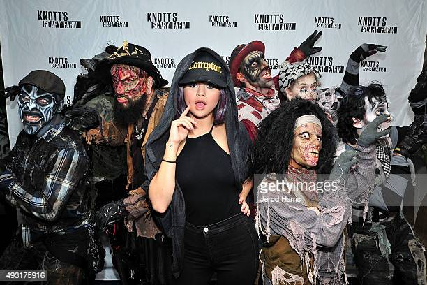 Selena Gomez visits Knott's Scary Farm at Knott's Berry Farm on October 17 2015 in Buena Park California