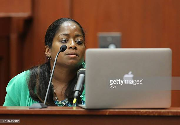 Selene Bahadoor reads from her Facebook page while testifying during George Zimmerman's trial in Seminole circuit court June 25 2013 in Sanford...