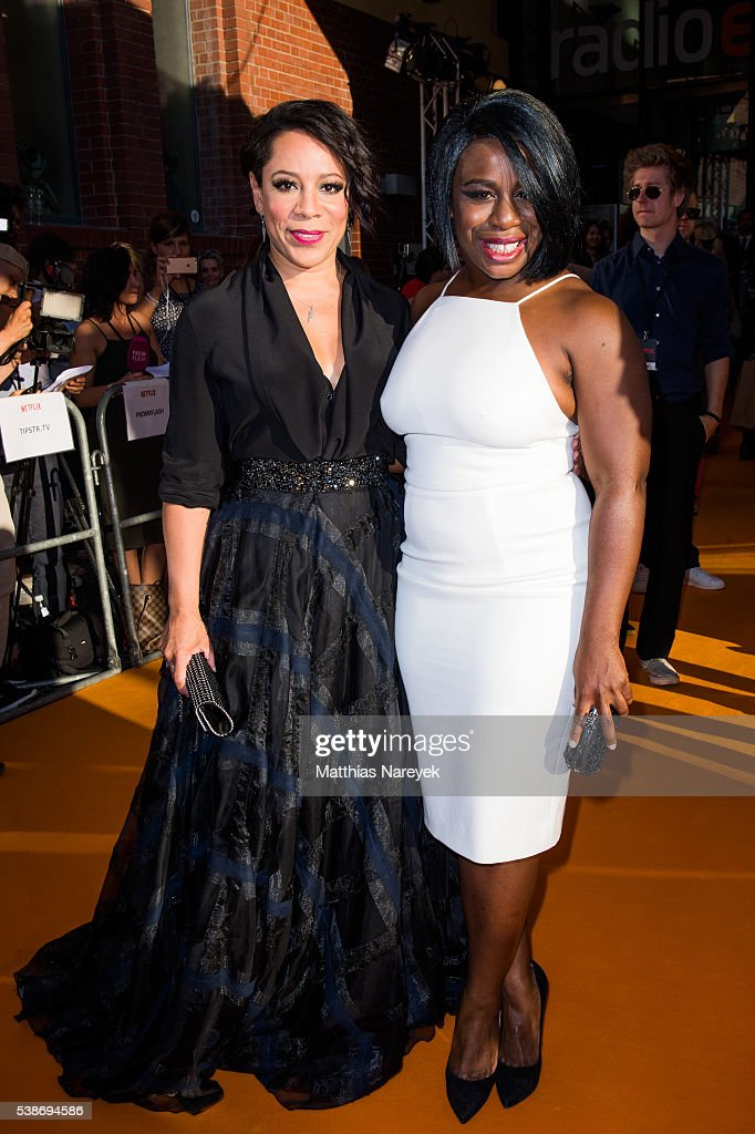 Selenis Levya and Uzo Aduba during the 'Orange is the New Black' Europe Premiere at Kino in der Kulturbrauerei on June 7 2016 in Berlin Germany