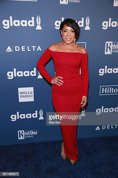 Selenis Leyva arrives for the 27th Annual GLAAD Media Awards at The Waldorf=Astoria on May 14 2016 in New York City