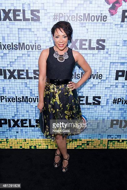 Selenis Leyva attends the 'Pixels' New York premiere at Regal EWalk on July 18 2015 in New York City