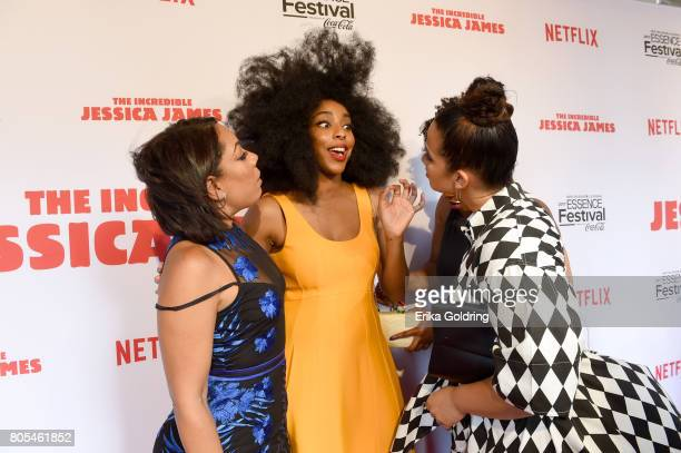 Selenis Leyva Jessica Williams and Dascha Polanco attend the Premiere Of Netflix Original Film 'The Incredible Jessica James' At The 2017 Essence...