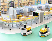 Self driving AGV (Automatic guided vehicle) with forklift carrying container box beside  conveyor. 3D rendering image.