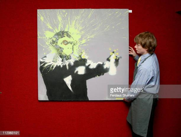 'Self Portrait' by Banksy during 'Vision 21 Urban Art Painting The Streets The Art of Dissent' Exhibition at Bonhams in London Great Britain