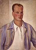 'Self Portrait by John Tommaselli 20th century oil on canvas Italy Lombardy Milan Brera Academy of Fine Arts Whole artwork view Selfportrait of the...