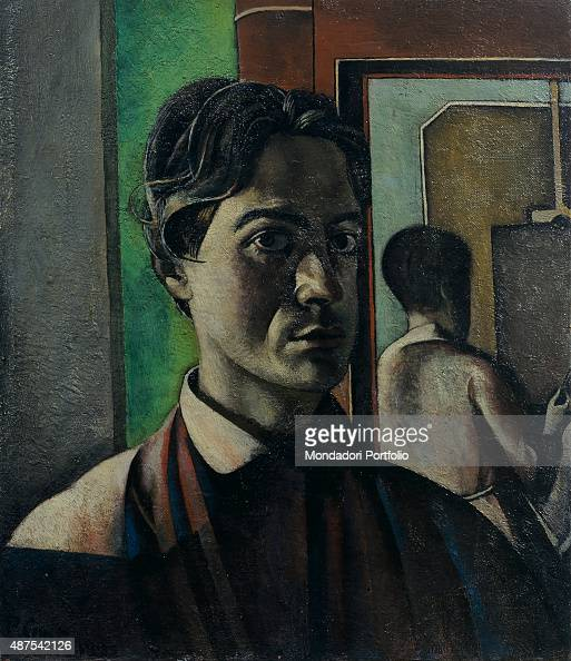 Self Portrait with Mirror by Primo Conti 20th Century oil on canvas 60 x 50 cm Italy Tuscany Fiesole Primo Conti Foundation Whole artwork view...