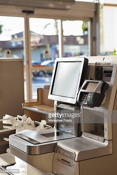 Self service checkout in supermarket