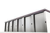self storage units isolated on white background 3d illustration