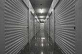Hallway of a self storage unit.