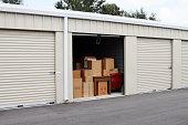Self storage warehouse with single storage unit open to