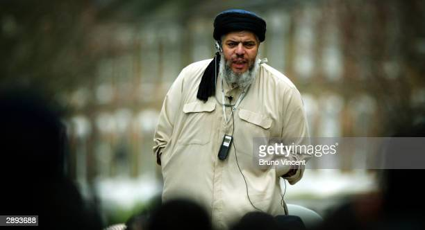 Self styled Muslim cleric Abu Hamza AlMasri leads prayers out side Finsbury Park Mosque on January 23 2004 in London This week marks the first...