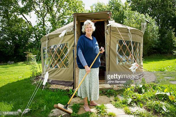 Self sufficient lady with organic garden