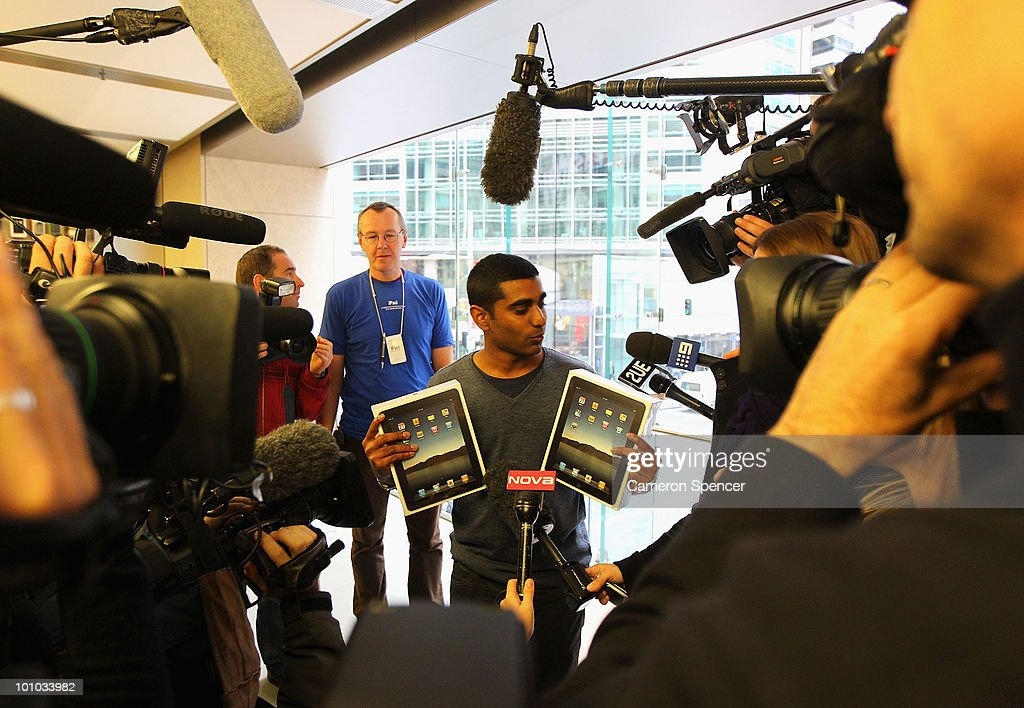 Self-confessed Apple fanatic Rahul Koduri talks to media after puchasing the first iPad in Australia at the Apple store on George Street on May 28, 2010 in Sydney, Australia. Apple's new tablet media device went on sale in nine countries around the world today following its launch in the United States in April this year.