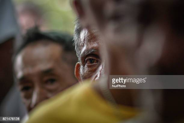 Selfconfessed drug users listen during a government antidrug abuse counseling session in Caloocan Metro Manila Philippines July 23 2017 The United...