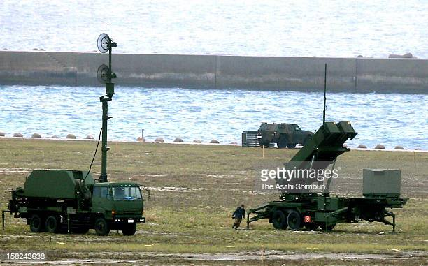 A SelfDefense Force dashes at PAC3 patriot missile just after North Korea's missile launch on December 12 2012 in Ishigaki Okinawa Japan North Korea...